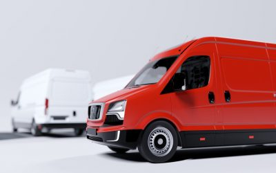 Red commercial van and fleet of white trucks. Transport. Transport and shipping